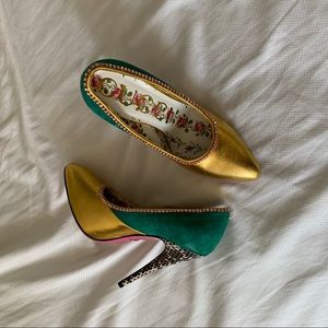 New Gucci Leather & suede green pumps size 35.5